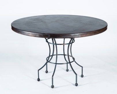 "Dominic Dining Table with 48"" Dark Brown Hammered Copper Top"