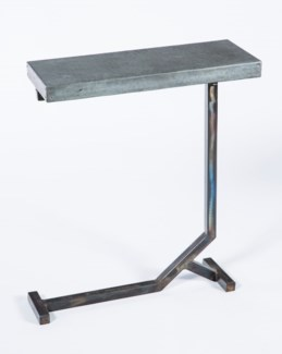 Collier Accent Table with Acid Washed Hammered Zinc Top