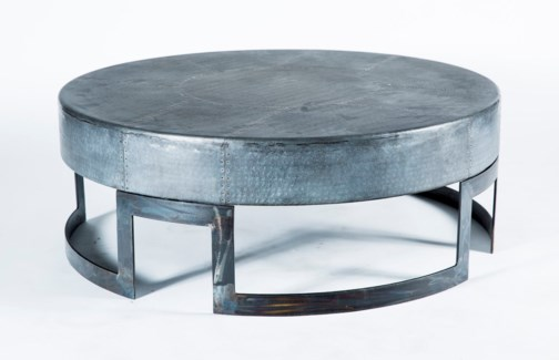 Maxwell Round Cocktail Table with Acid Washed Hammered Zinc Top