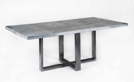 "Liam Dining Table with 72"" x 44"" Acid Washed Rectangle Hammered Zinc Top"