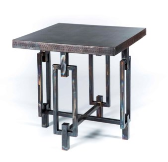 Elliot Side Table with Dark Brown Hammered Copper Top