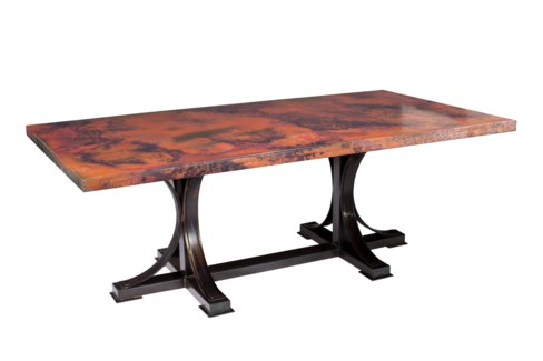 "Winston Dining Table with 84"" x 44"" Oval Hammered Copper Top"