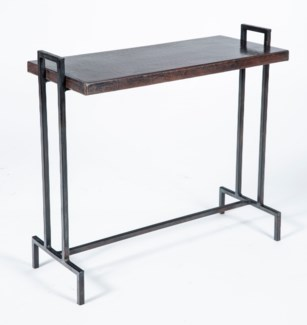 Slim Rectangle Table Base with Dark Brown Hammered Copper Top