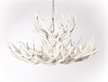 Olivia Antler Chandelier with 10 Lights in White