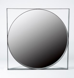 Round Iron Mirror with Square Iron Frame