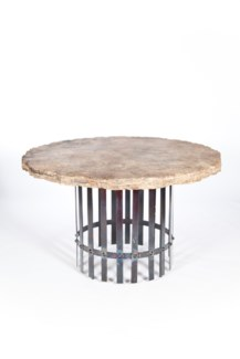 """Ashton Dining Table with 48"" Round Marble Top with Live Edge"""