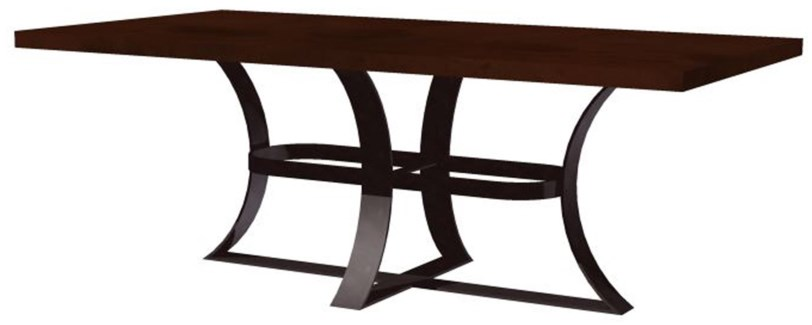 Avery Dining Table with Rectangular Hammered Dark Brown Copper Top