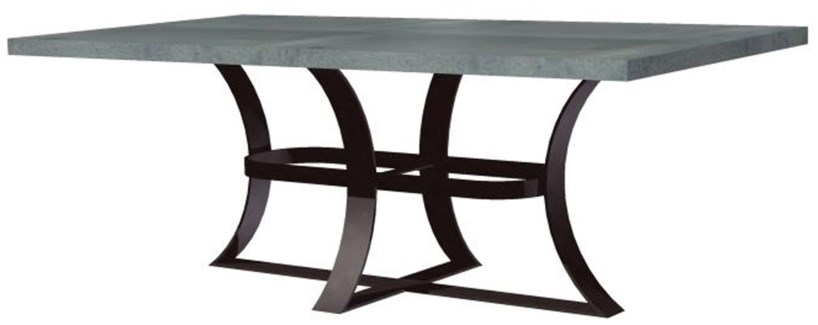 Avery Dining Table with Rectangular Hammered Zinc Top