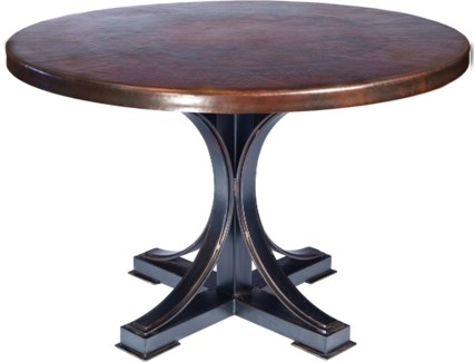 """Winston Dining Table with 48"""" Round Dark Brown Hammered Copper Top"""