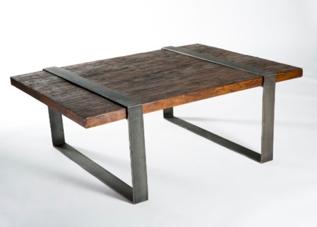 Jackson Cocktail Table with Reclaimed Wood top and Steel Strap Legs