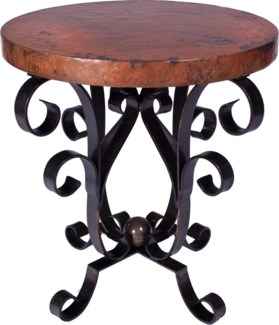 Iron Scroll Accent Table with Hammered Copper Top