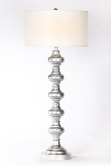 """Turned Metal Lamp in Silver Leaf Finish with White 18"""" Drum Shade"""