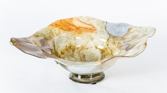 Ruffled Chalupa Bowl in Canyon Dusk Finish