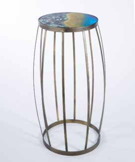 Barrel Pedestal Table in Antique Silver with Top in Water's Edge Finish