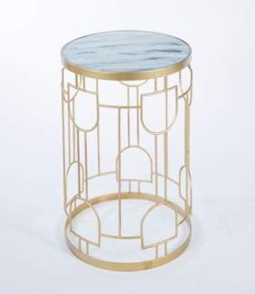 Dome Accent Table in Antique Brass with Top in Morning Mist Finish