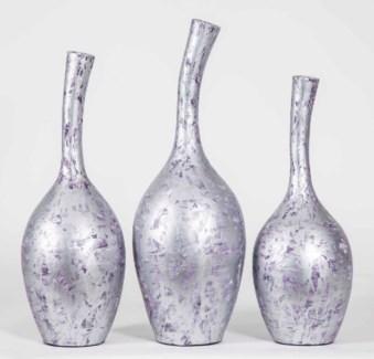 Large Curved Neck Vase in Gilded Violet Finish