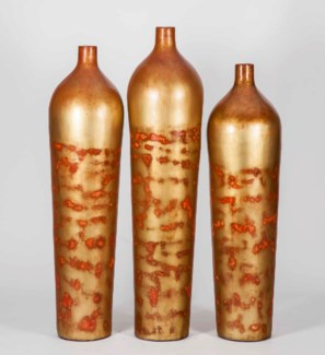 Large Aspen Floor Vase in Sunbaked Orange Finish