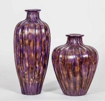 Large Cactus Vase in Eggplant Finish