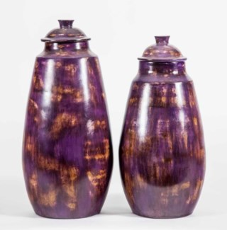 Large Urn with Lid in Eggplant Finish