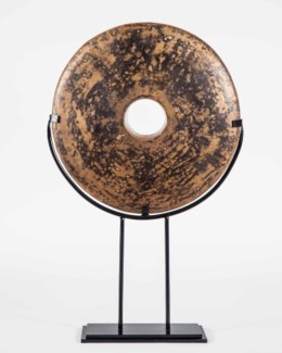 Disc Sculpture on Stand in Toasted Chestnut Finish