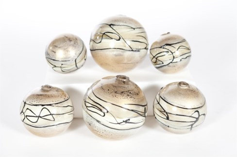 Spheres Set of 6 in Champagne Twine Finish