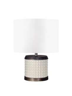 Canasta Accent Table Lamp Round Matte White