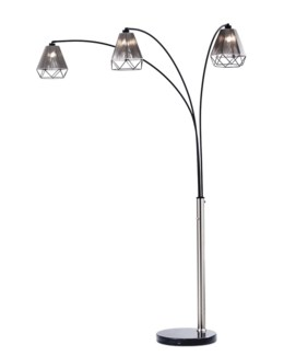 Polygon Three Light Arc Lamp Brushed Nickel