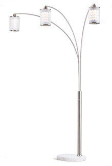 Flora Three Light Arc Lamp Weathered Brass