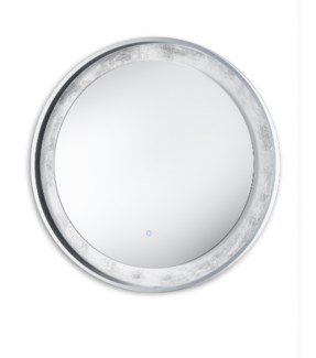 Silverado Illuminated Mirror Round Silver Leaf
