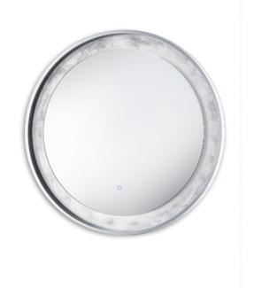 Silverado Illuminated Mirror Round Silver Leaf