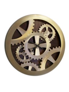 Gold Gears Moving Wall Clock