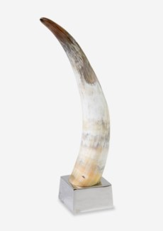 "(LS) 23""H Decorative Polished Horn On Metal Base (13x13x23)"