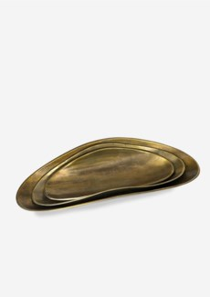 (LS) Set of 2 Antique Brass Finished Oval Metal Trays (21x5x4/17.25x7x4)