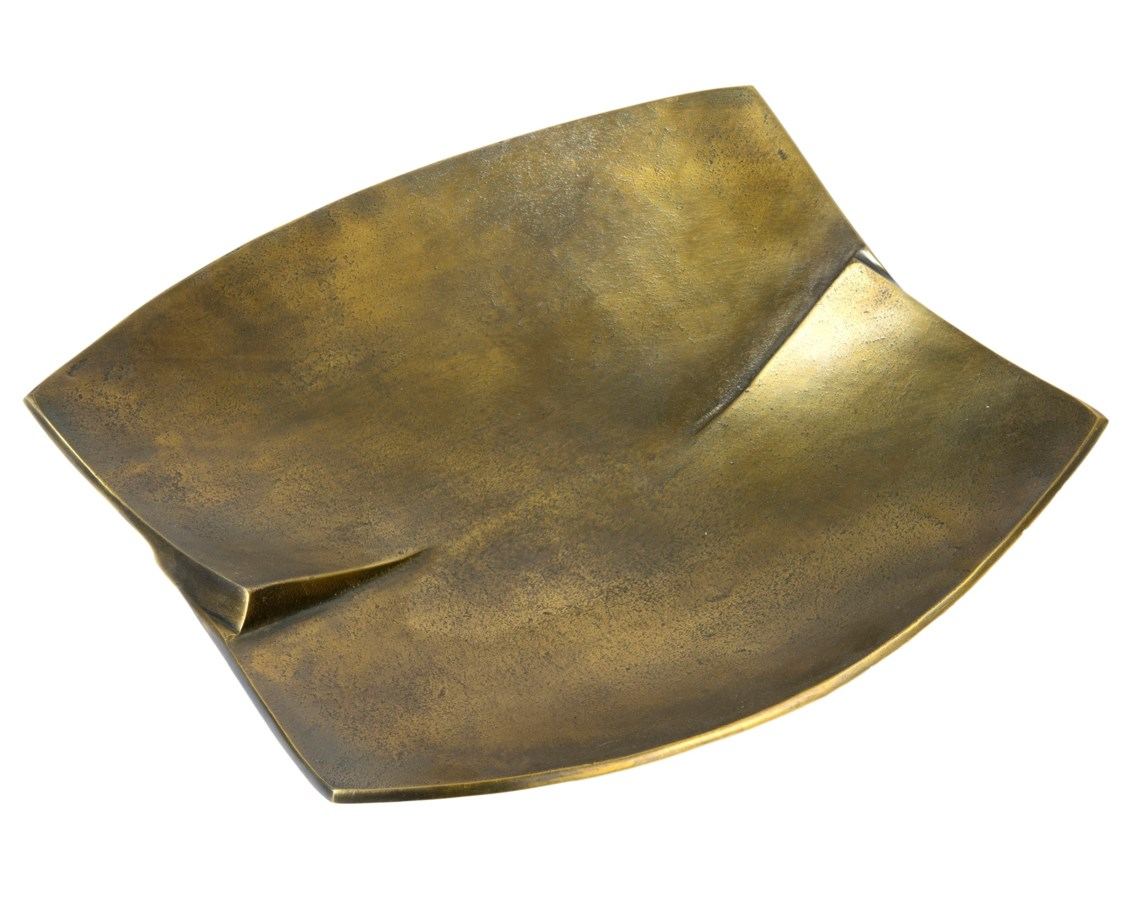 Ls Antique Brass Finished Curved Square Metal Tray