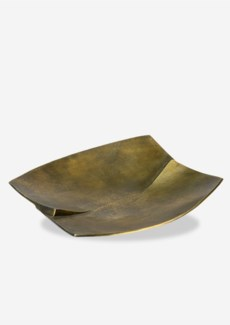 (LS) Antique Brass Finished Curved Square Metal Tray (13x12.5x2)