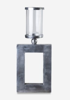 (LS) Textured Nickel Finished Rectangle Cube Metal Candleholder (10x2.25x16.5)..