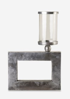 Textured Nickel Finished Cube Metal Candleholder (14x2.25x12.5)