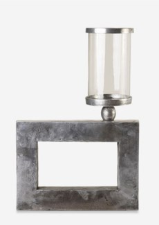 Antique Pewter Finished Cube Metal Candleholder (14x2.25x12.5)