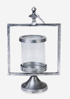 Matte Pewter Finished Metal Lantern (10x10x17)