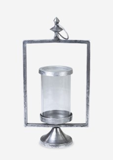 Matte Pewter Finished Metal Lantern (10X10X21)