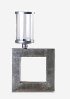 Textured Nickel Finished Rectangle Cube Metal Candleholder (12x2.3x14.5)