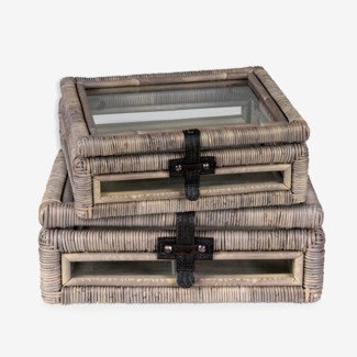 Decorative glass document Box with rattan frame accents set-2 - Natural grey