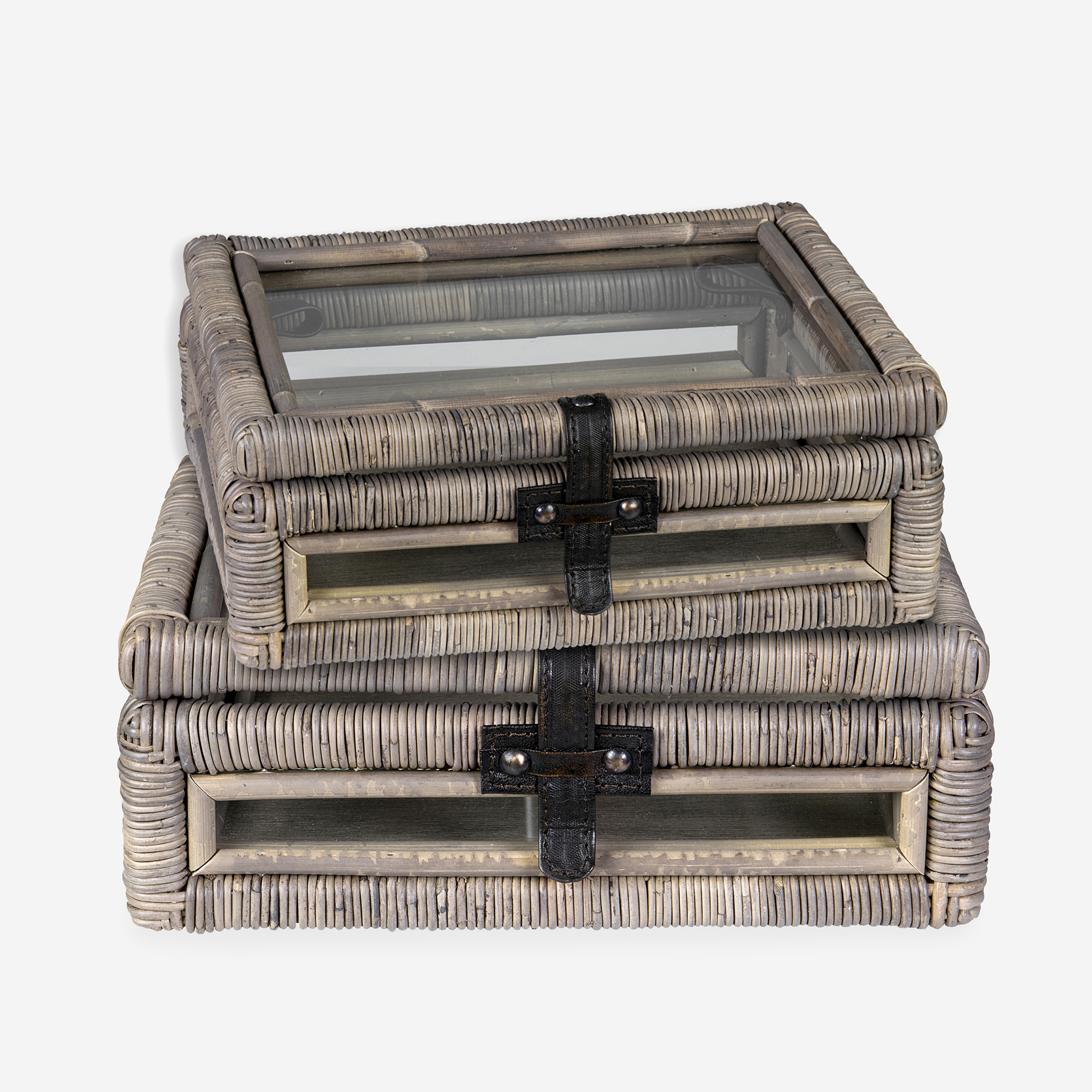 Decorative Glass Document Box With Rattan Frame Accents Set 2   Natural Grey