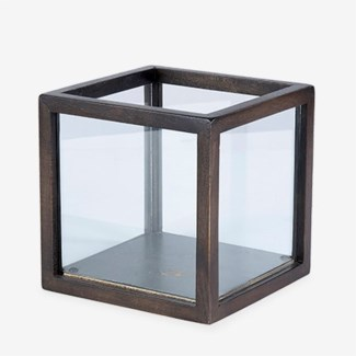 Square wood Lantern - Brown