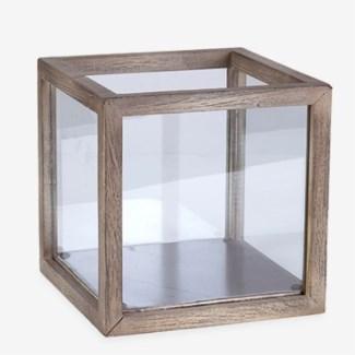 Square Wood Lantern - Vintage Grey