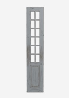"(SP) 87"" Bayside Solid Wood Paned Door Panels In Antique White (18x1.5x87)"