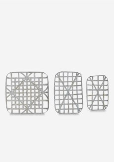 Decorative Tobacco basket Set of 3 - Aged White