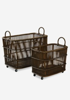Open Weave Storage Baskets On Castors (Set 2) (31x18x24 / 24x14x20)
