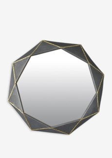 (LS) Zinc Finished With Brass Weldings Metal Hex Mirror (26.25x25.25x2.25)