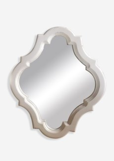 "32""x26"" Diamond Shape Mirror with Carved Wood  Frame - Antique White (25.59X1X31.50)"